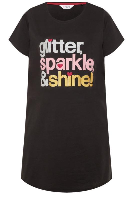 Black Glitter Slogan Nightdress