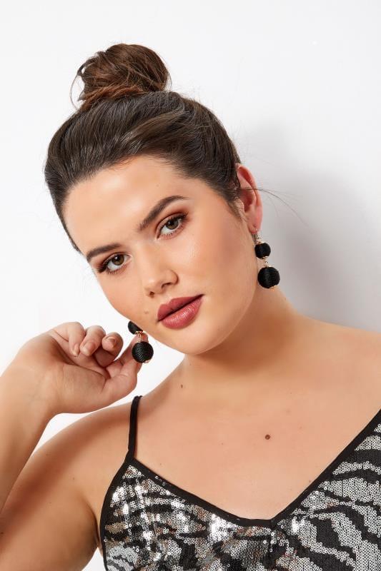 Большие размеры | Plus Size Jewellery Gold & Black Double Ball Earrings