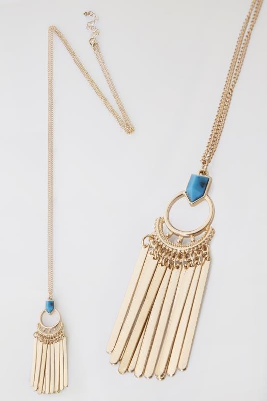 Gold & Blue Tassel Necklace