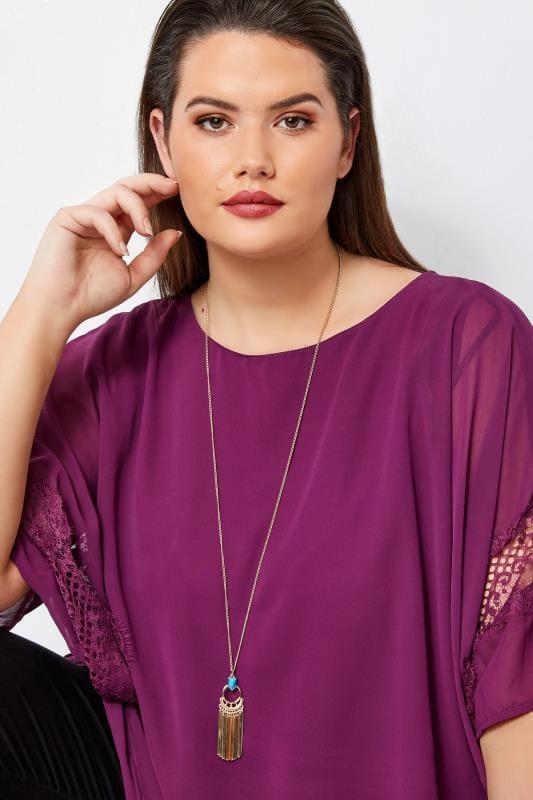 Plus Size Necklaces Gold & Blue Tassel Necklace