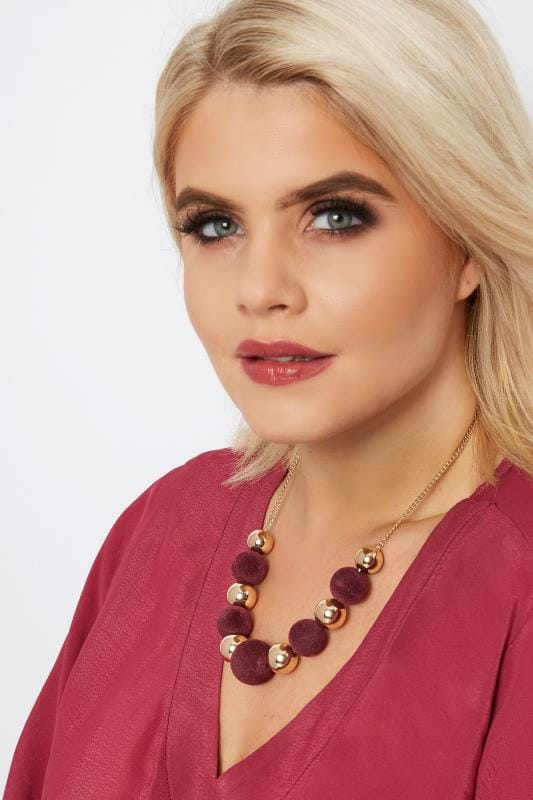 Plus Size Jewellery Gold & Burgundy Ball Necklace