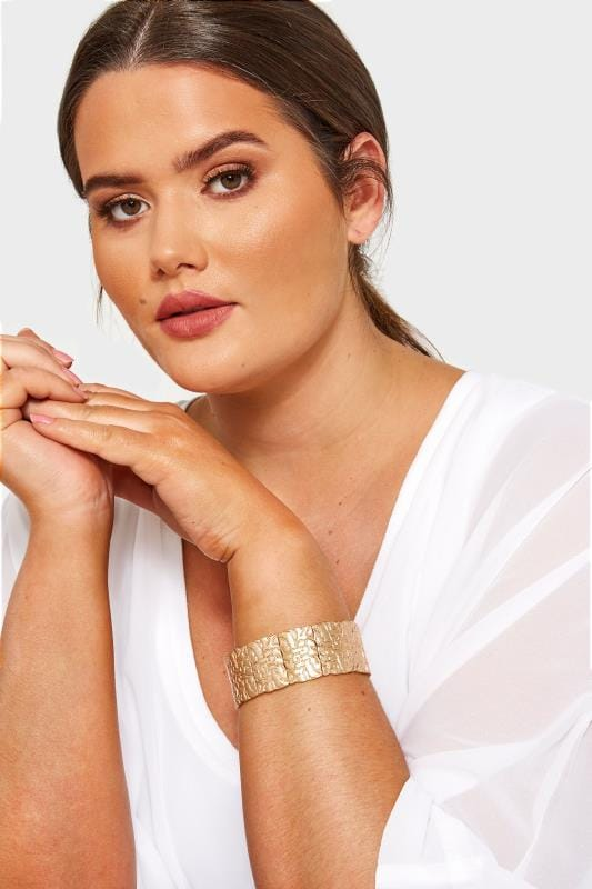Plus Size Jewellery Gold Textured Chunky Bracelet