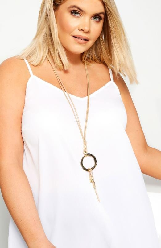 Gold Circle Tassel Long Necklace