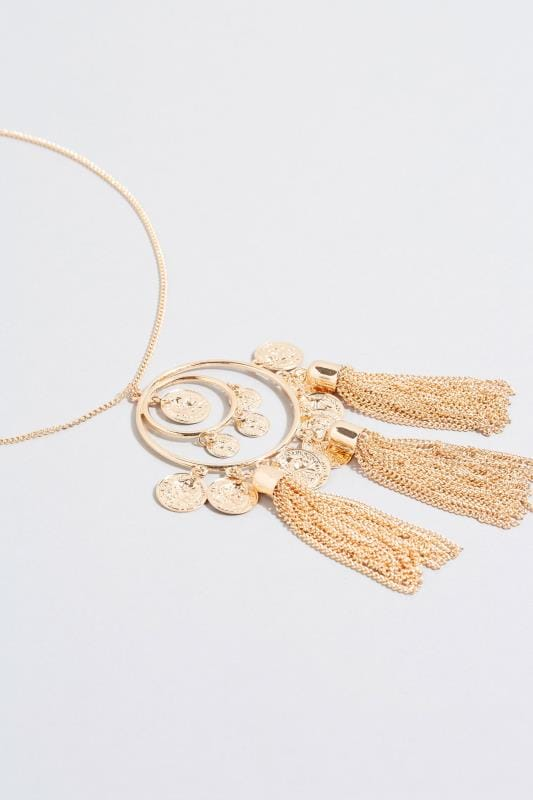 Gold Coin Tassel Necklace