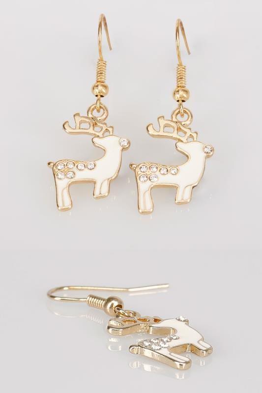 Gold & Cream Christmas Reindeer Dangle Earrings