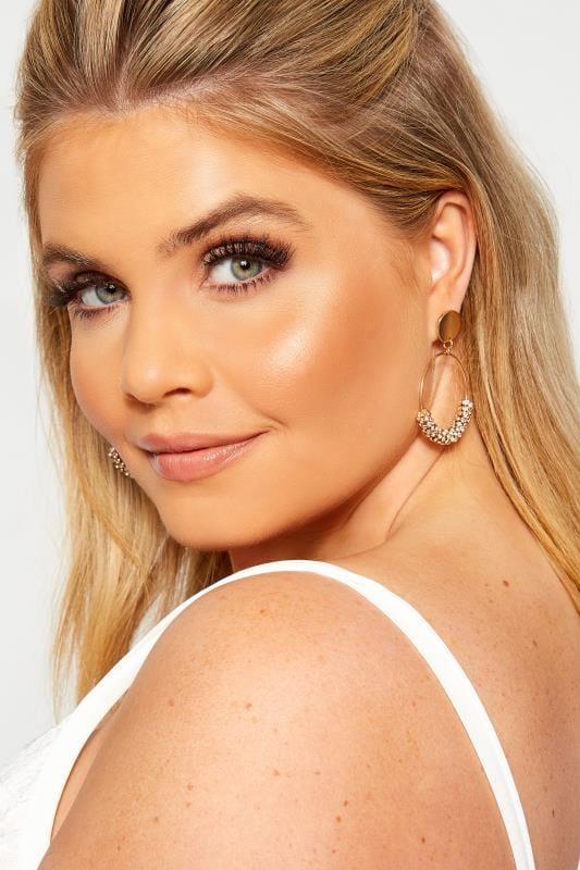 Gold Diamante Charm Hoop Earrings