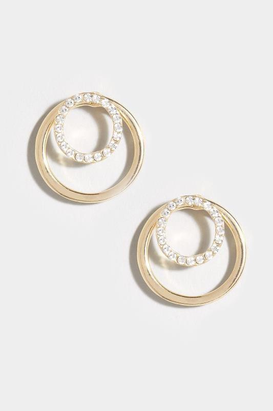 Gold Diamante Circle Earrings