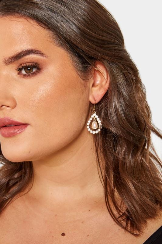 Gold Diamante & Pearlescent Teardrop Earrings