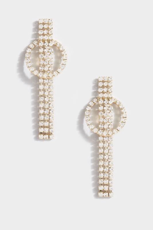 Gold Diamante Tassel Earrings
