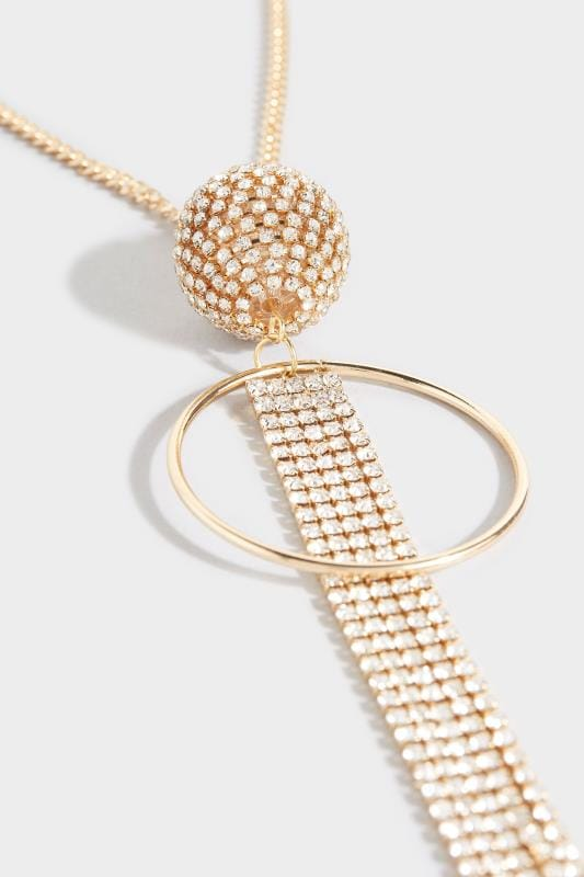 Gold Diamante Tassel Long Necklace