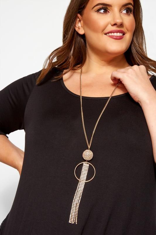 Halskette mit Diamante-Quaste - Goldfarben