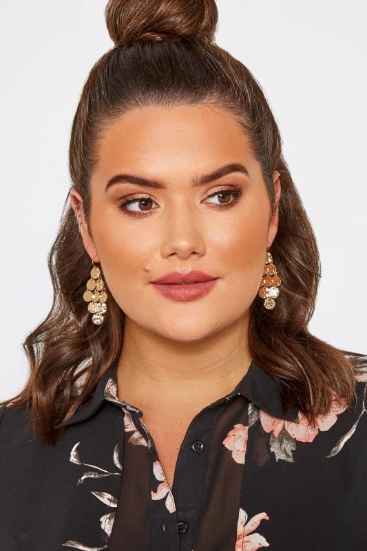 Gold Disc Tassel Earrings