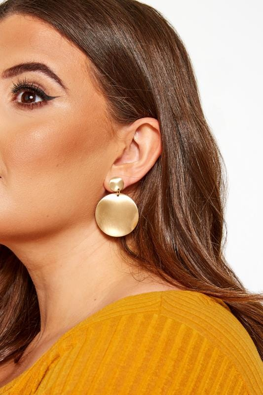 Earrings Grande Taille Gold Double Disc Earrings