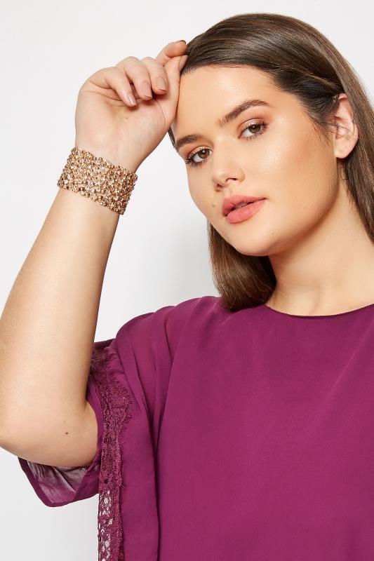 armbanden Gouden Bloemen Diamante Stretch armband
