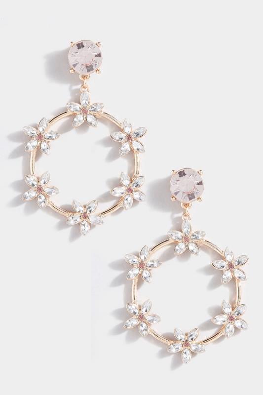 Gold Floral Diamante Hoop Earrings