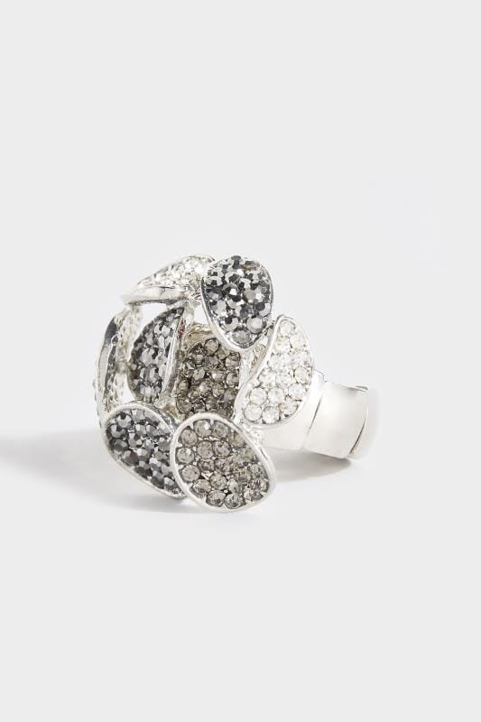 Plus Size Jewellery Silver Flower Stone Ring