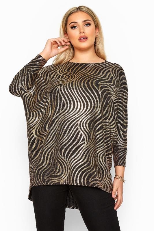 Plus Size Dipped Hem Tops Gold Foil Swirl Extreme Dipped Hem Top