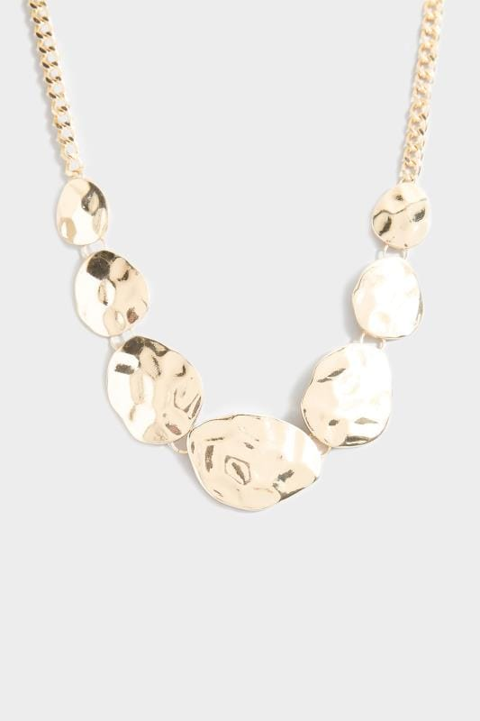 Yours Gold Hammered Disc Necklace