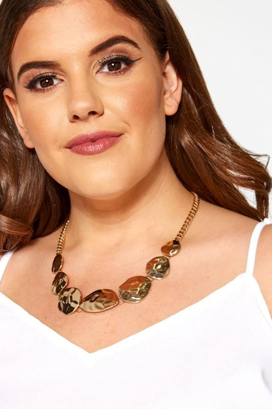 Plus Size Jewellery Gold Hammered Disc Necklace