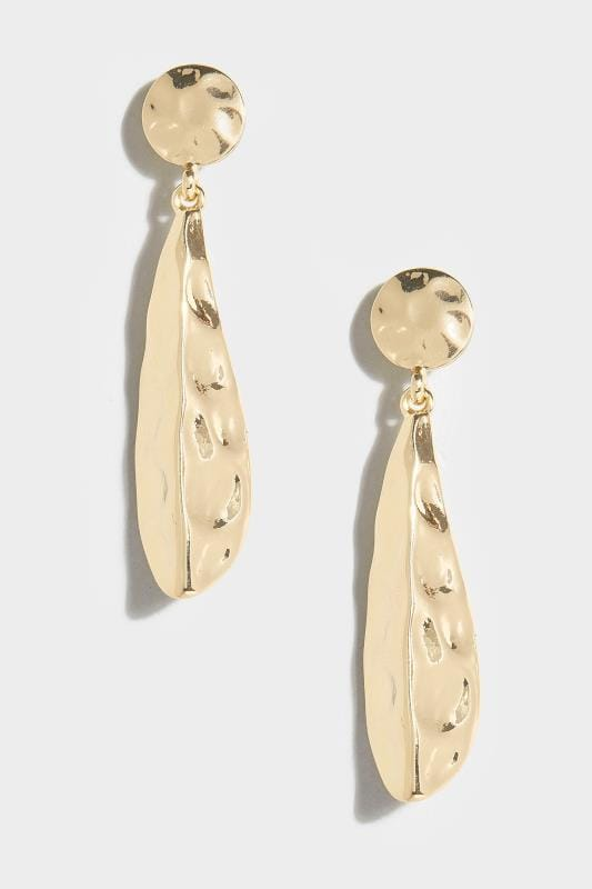 Goldene gehämmerte Tropfen-Ohrringe