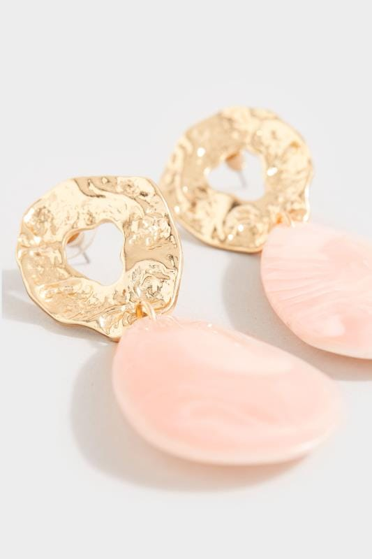 Gold & Pink Hammered Stone Drop Earrings