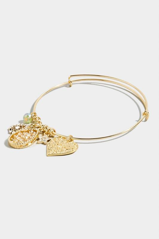 Gold Heart Charm Bangle
