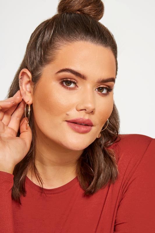 3 PACK Gold Hoop Drop Earrings Set