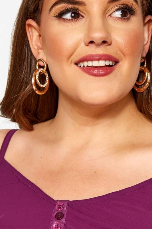Plus Size Jewellery Gold Hoop Link Earrings