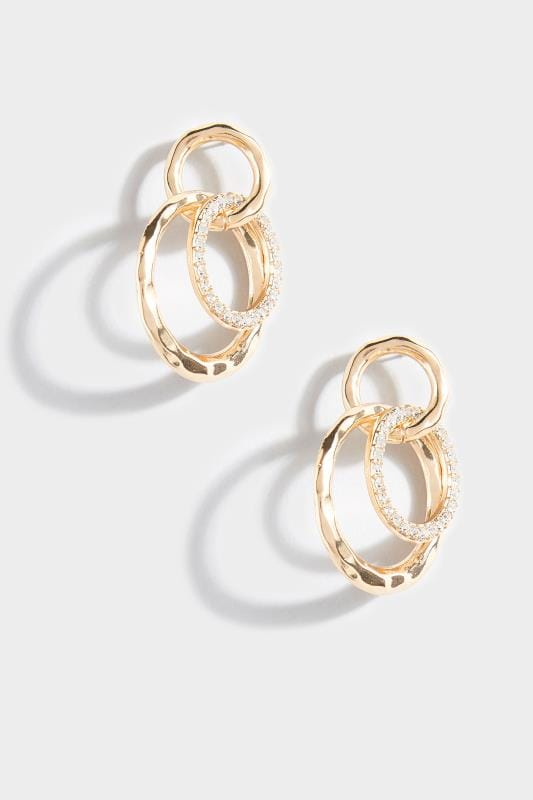 Gold Hoop Link Earrings