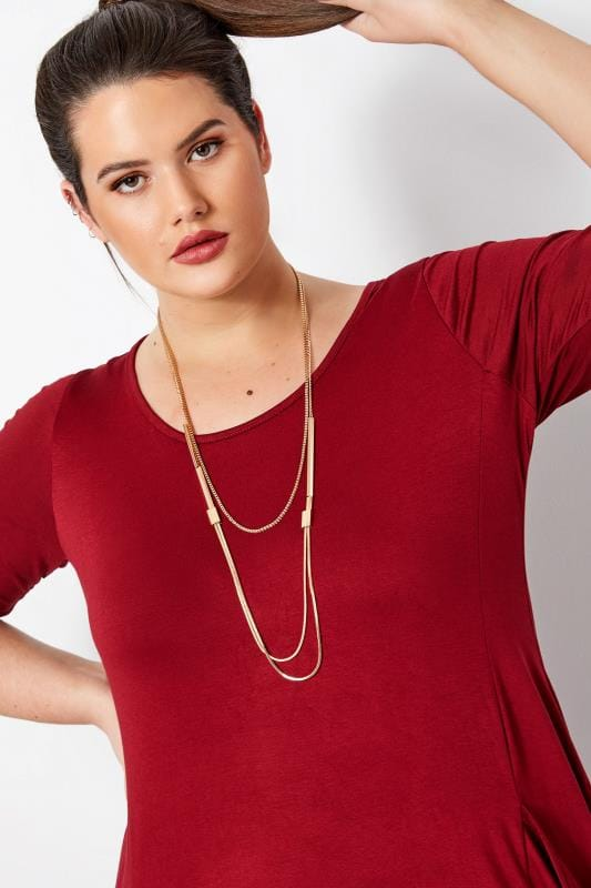 Большие размеры | Plus Size Jewellery Gold Layered Chain Necklace