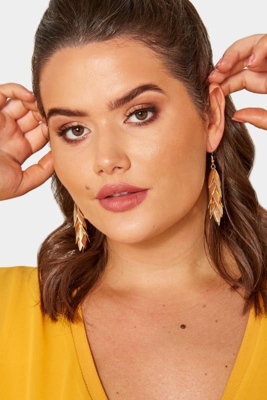 Plus Size Earrings Gold Layered Leaf Earrings
