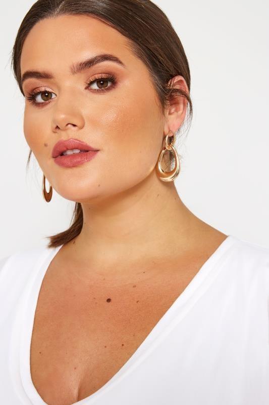 Plus Size Earrings Gold Linked Drop Earrings