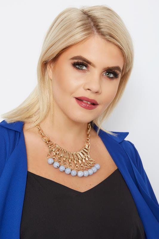 Plus Size Necklaces Gold Marble Bead Necklace