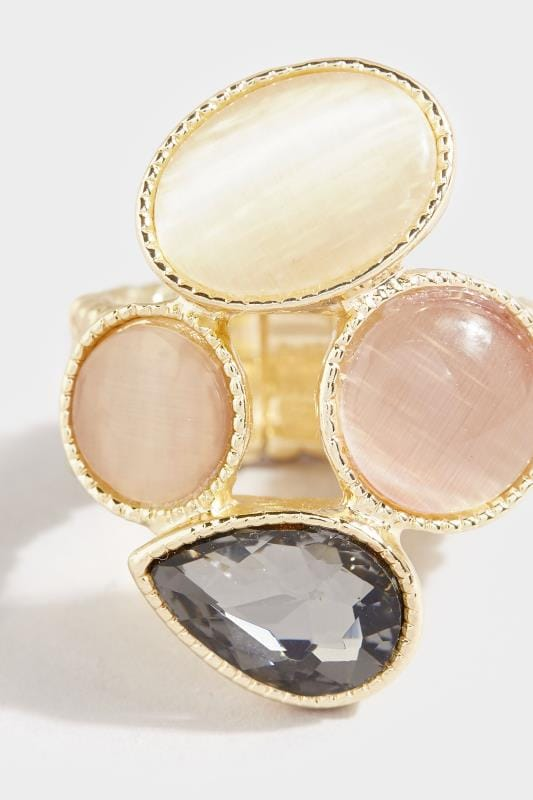 Gold Mixed Stone Stretch Ring