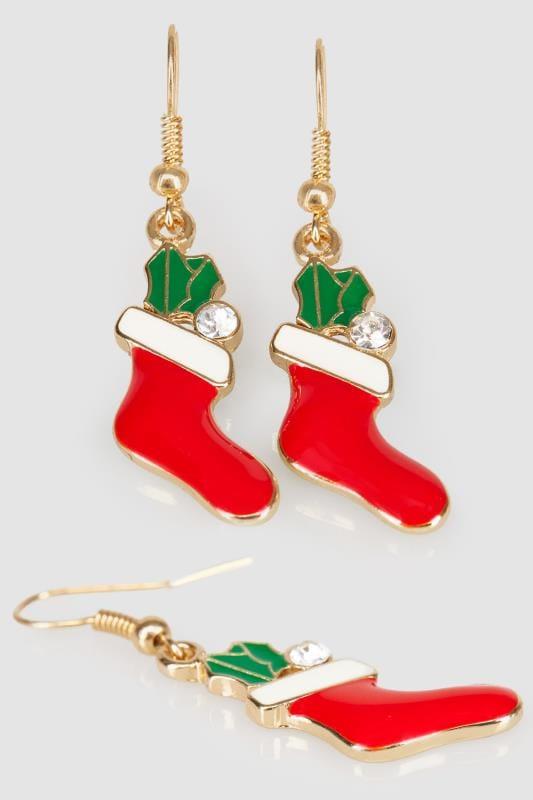 Gold & Multi Christmas Stocking Dangle Earrings