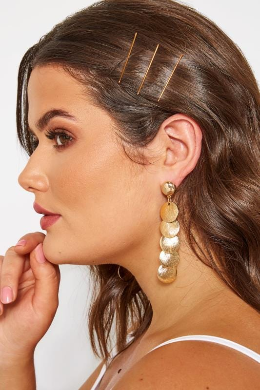 Plus Size Earrings Gold Multi Disc Drop Earrings