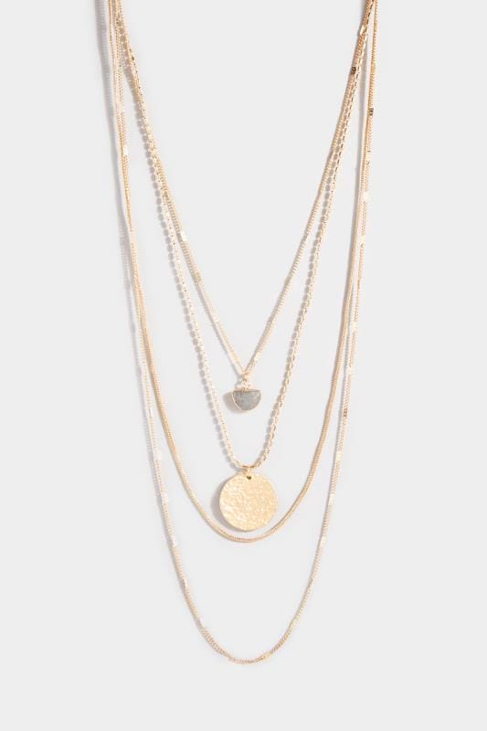 Gold Multi Layered Charm Necklace