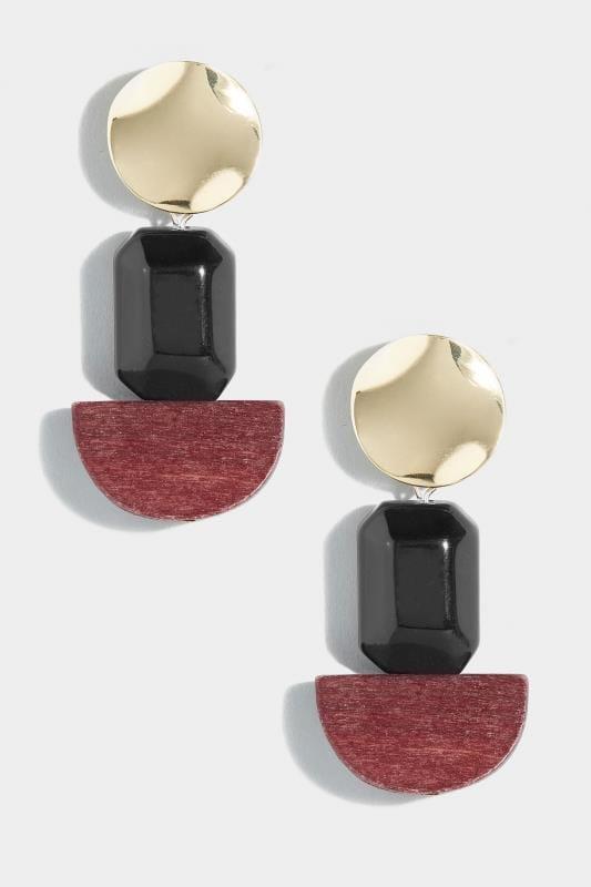 Gold & Multi Wood Earrings