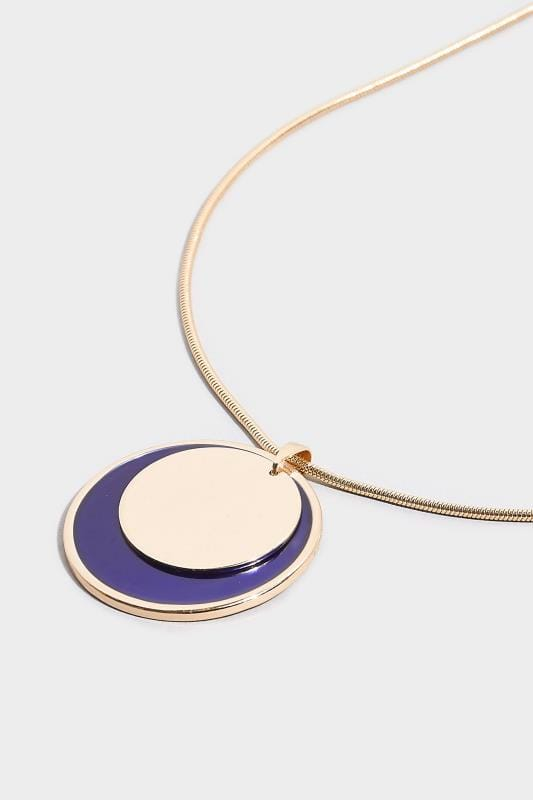 Gold & Navy Disc Necklace