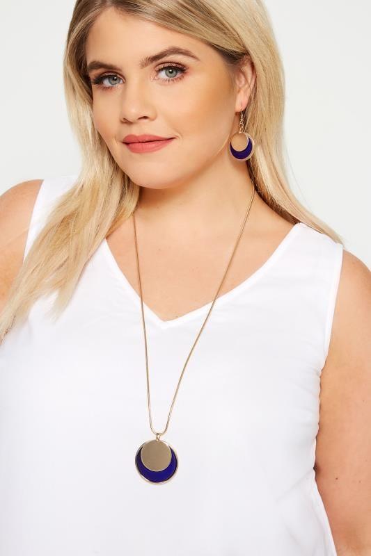 Halskette mit runden Anhängern - Gold und Blau