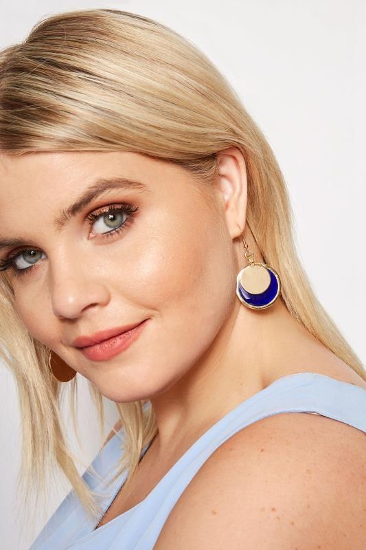 Plus Size Earrings Gold & Navy Double Circular Drop Earrings
