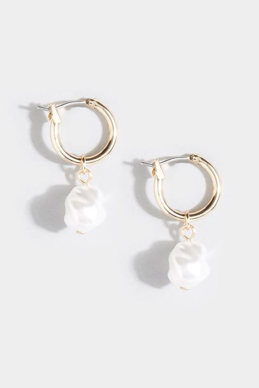 Gold Pearl Hoop Earrings