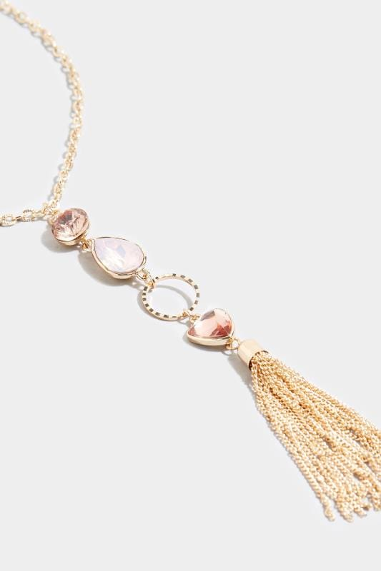 Gold & Pink Stone Tassel Necklace