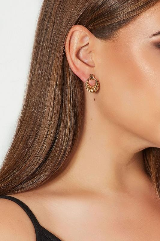 Gold Shell Circle Earrings