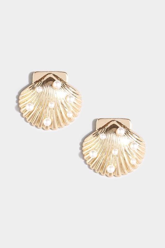 Gold Shell Stud Earrings
