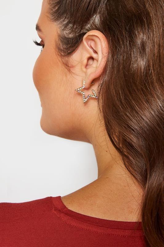 Gold Star Diamante Hoop Earrings