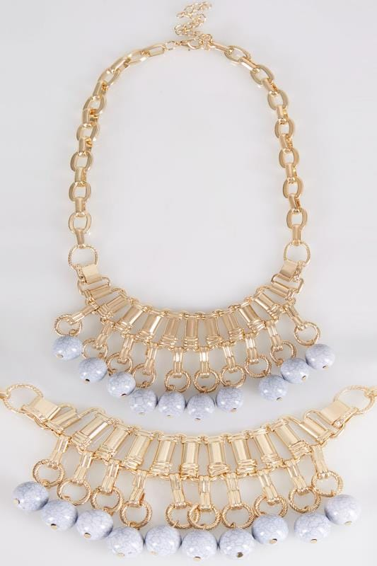 Gold Marble Bead Necklace