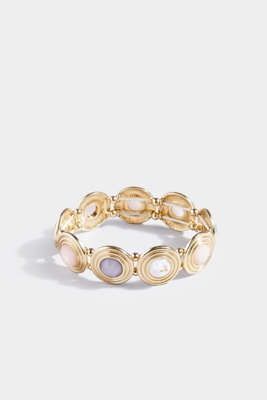 Gold Stone Disc Bracelet