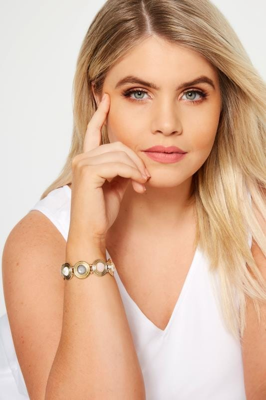 Plus Size Jewellery Gold Stone Disc Bracelet