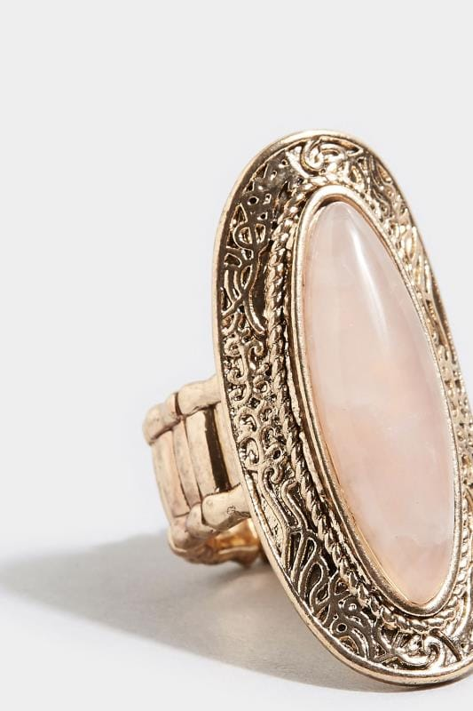 Gold Stone Embossed Ring